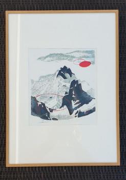 """""""Mountaintop"""" - 50 x 65 - beschikbaar/available met blankhouten lijst"""